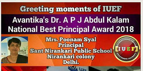 AVANTIKA'S A.P.J ABDUL KALAM NATIONAL BEST PRINCIPAL AWARD, 2018